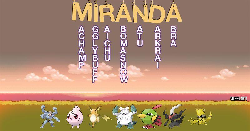 Los Pokémon de miranda - Descubre cuales son los Pokémon de tu nombre