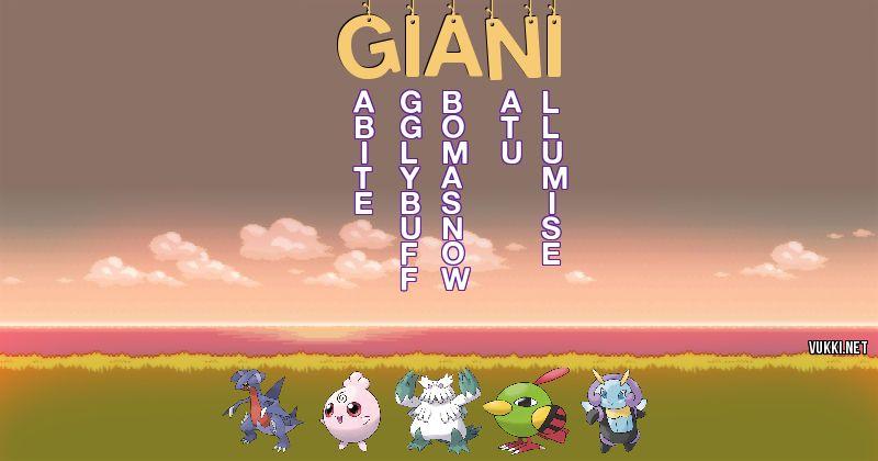 Los Pokémon de giani - Descubre cuales son los Pokémon de tu nombre