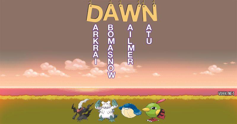 Los Pokémon de dawn - Descubre cuales son los Pokémon de tu nombre